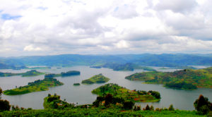 A view of Lake Bunyonyi, with a breathtaking scenic view.